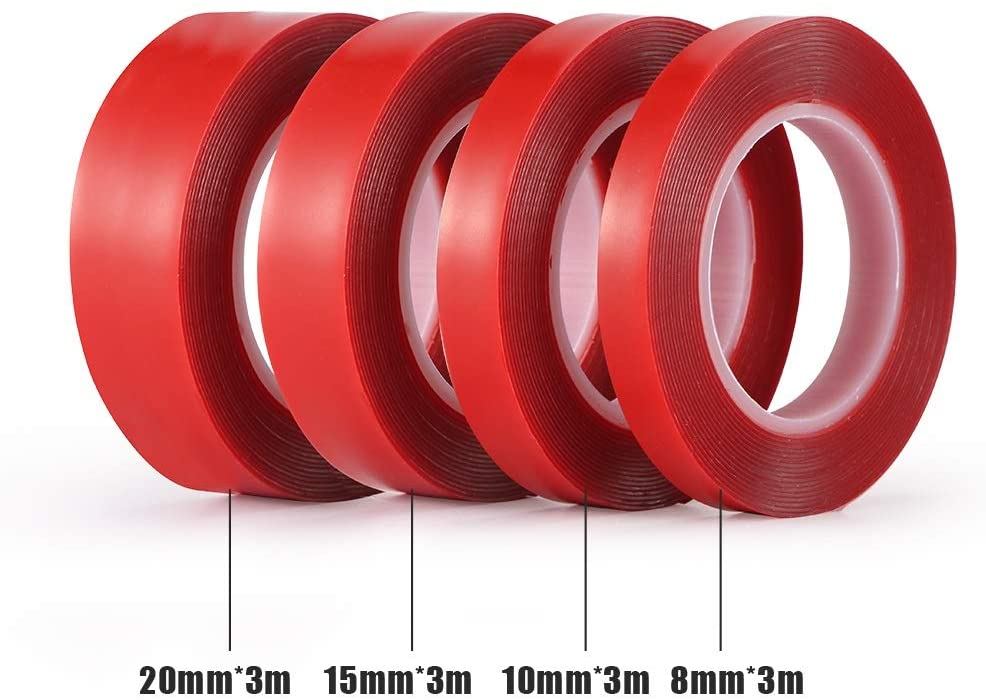 YOCO 3m Red Double Sided Adhesive Tape High Strength Acrylic Gel Transparent No Traces Sticker for Car Auto Interior Fixed (Width : 15mm)