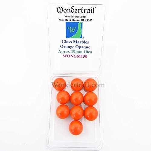 Wondertrail Orange Opaque 19mm Glass Marbles Pack of 10