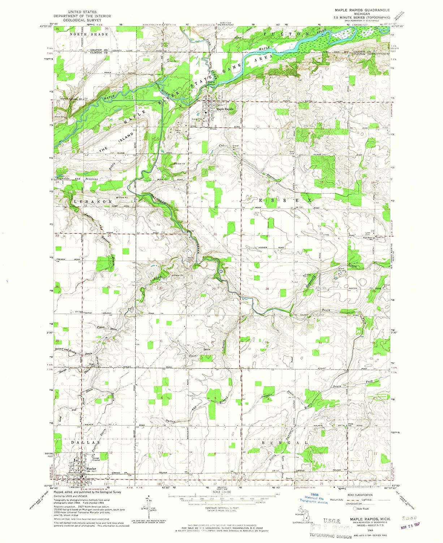 Map Print - Maple Rapids, Michigan (1965), 1:24000 Scale - 24