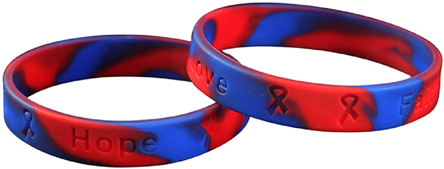 Red & Blue Silicone Bracelets – Red & Blue Rubber Wristbands for Congenital Hearts Defects/Disease, Noonan's Syndrome, Pulmonary Fibrosis Awareness