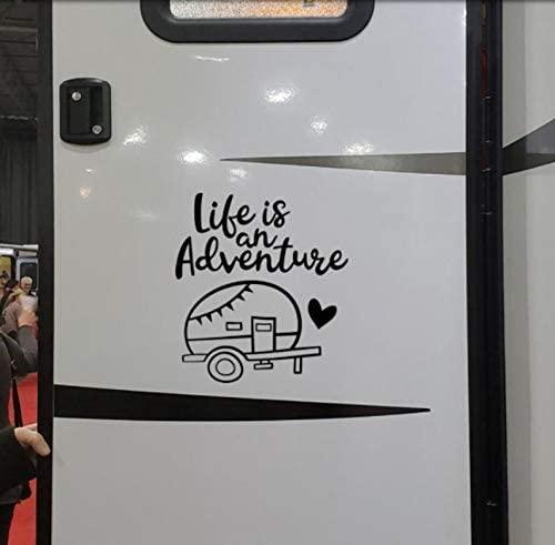 pmxkbzzr Life is an Adventure Camper Door Decal, Retro rv Sticker - Vinyl Camp Stencil - Camping Decal - RV Sticker, Camp Bucket, Campsite Decor