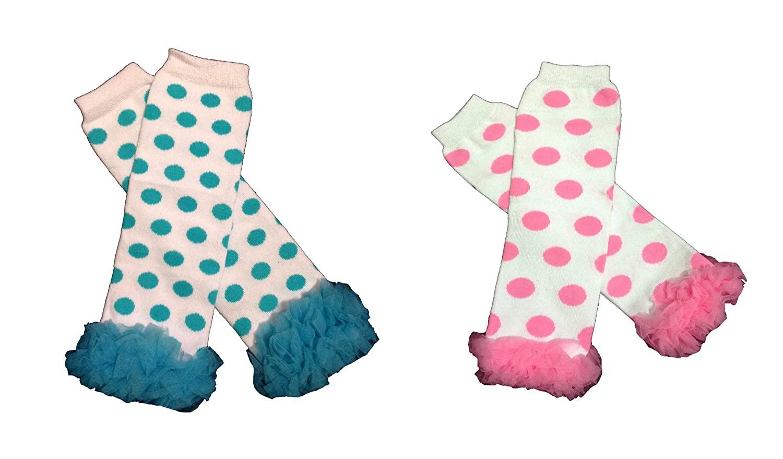 KWC - Set of 2 Blue & Hot Pink Chiffon Ruffles Baby Leg Warmer (Polka Dots)