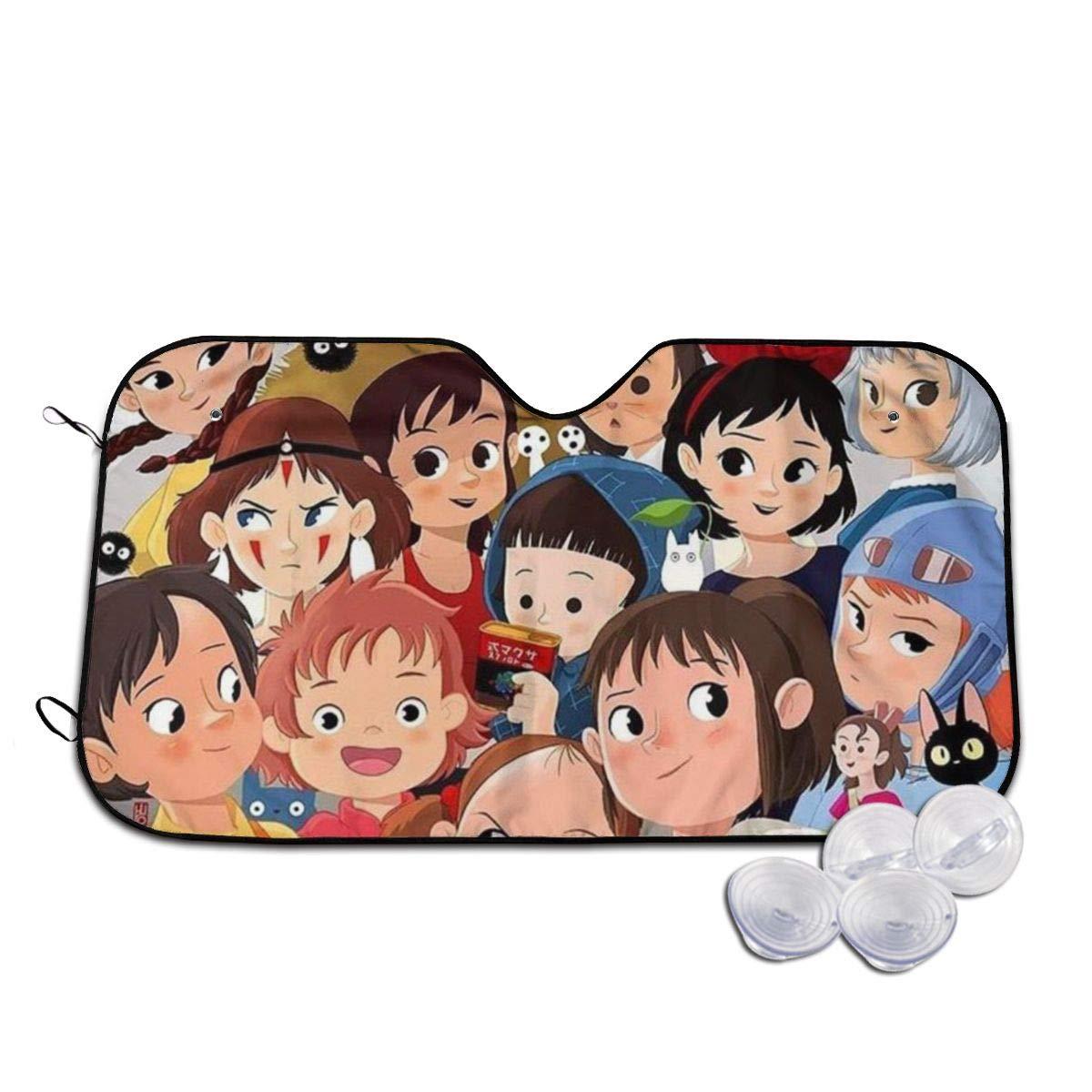 Studio Ghibli,Hayao Miyazaki Anime Front Windshield Sun Shade Blocks Uv Rays Sun Visor Accordion Folding Auto Sunshade for Car Truck SUV Small