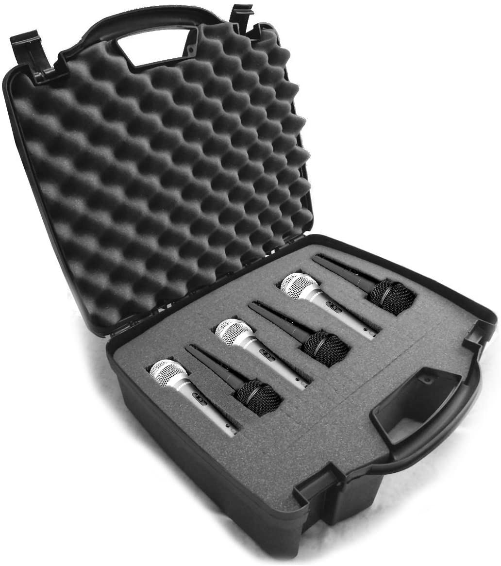 Casematix Cardioid Dynamic and Vocal Microphone Hard Case with Dense Internal Customizable Foam Fits 6 Shure Microphones SM58, SM57, Beta 58A, PG48, PGA58 and More