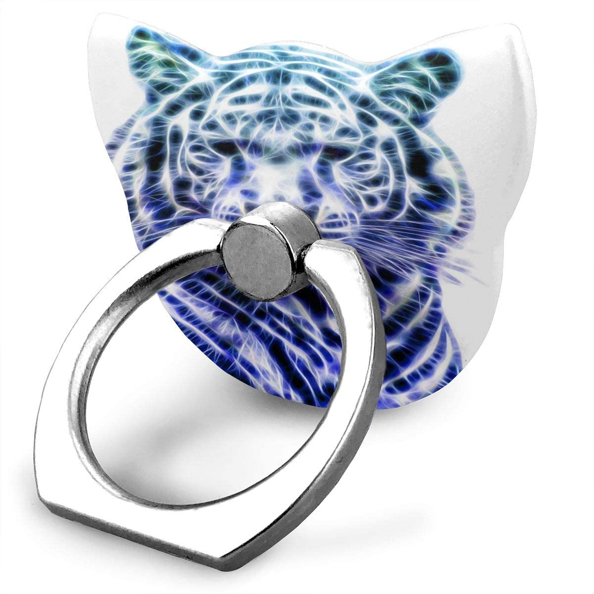 Cat Cell Phone Ring Holder, Ring Phone Holder White Bengal Tiger Illustration Cat Ring Holder for Cell Phone, Phone Ring Stand Finger Kickstand 360° Rotation Compatible with All Smartphones