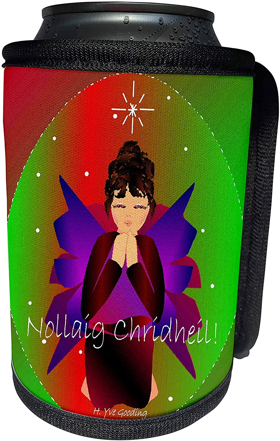 3dRose Yves Creations Angels - Christmas Angel Baby Girl Praying With Nollaig Chridheil Text - Can Cooler Bottle Wrap (cc_6957_1)