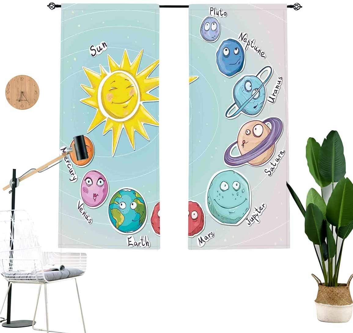 Space Sound Blocking Curtains,Cute Cartoon Sun and Planets of Solar System Fun Celestial Chart Baby Kids Nursery Theme Window Treatments for Sliding Glass Doors,2 Panel Set,W42 x L36 Each Panel