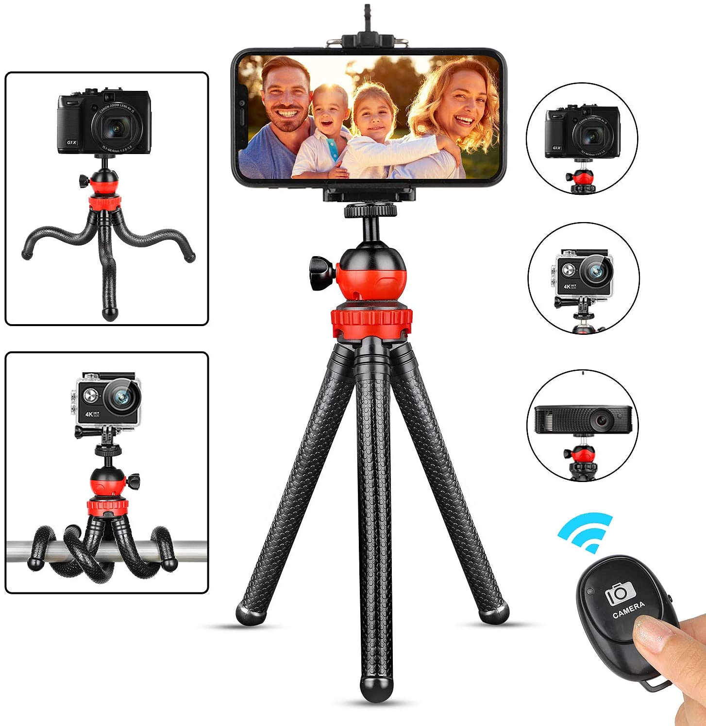 Phone Tripod, Portable Cellphone Camera Tripod Stand with Wireless Remote, Flexible Tripod Stand for Selfies/Vlogging/Streaming/Photography/Recording Compatible with iPhone Android Phone Gopro