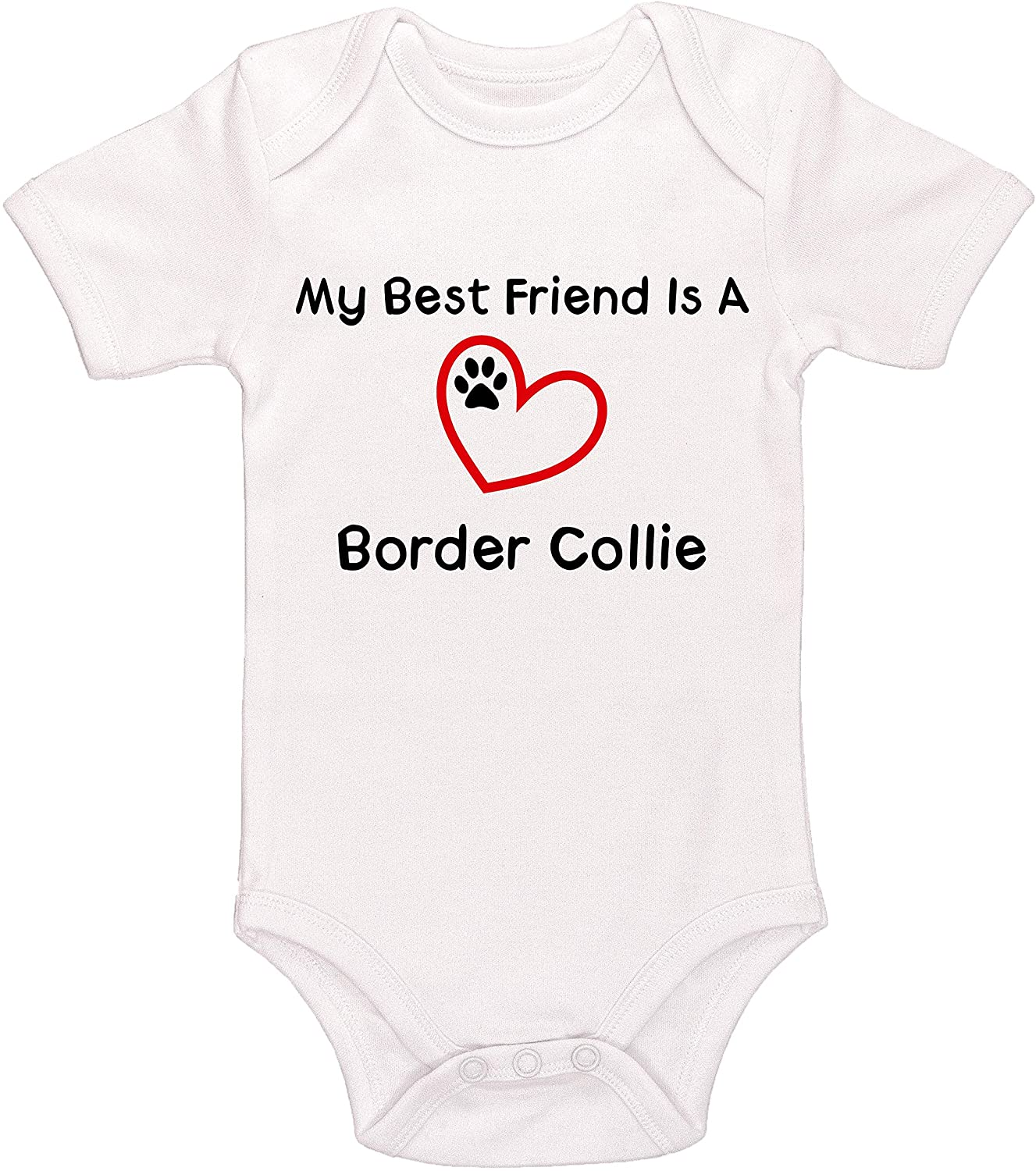 Kinacle My Best Friend is A Border Collie Baby Bodysuit