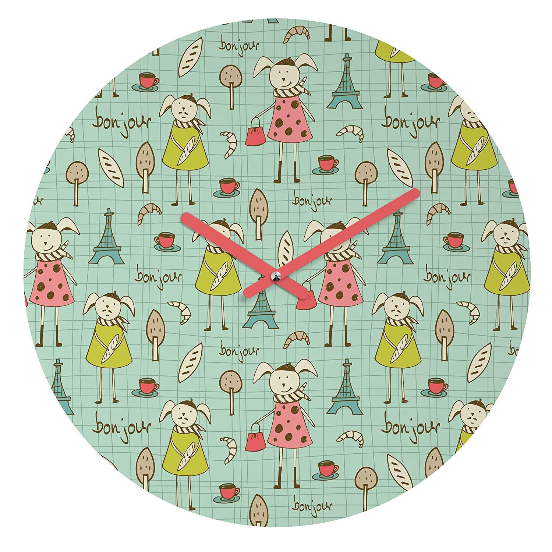 Deny Designs Heather Dutton, Bonjour Lapin, Round Clock, Round, 12