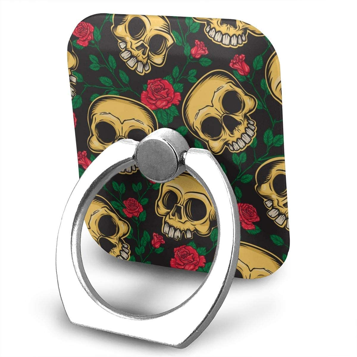 SLHFPX Universal Phone Ring Holder Skulls Flowers in Mexican Style Square Cell Phone Ring Stand Adjustable 360°Rotation Finger Grip-Silver Mobile Phone Stand for Women Kids Men Ladies