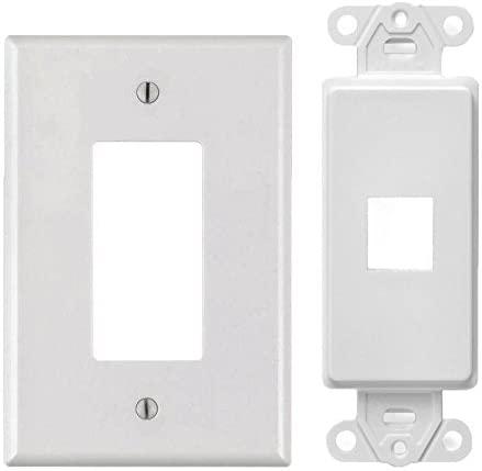 White 1 Port Decora Keystone Snap-in Jack Modular Wall Insert Cover Plate (1/pk)