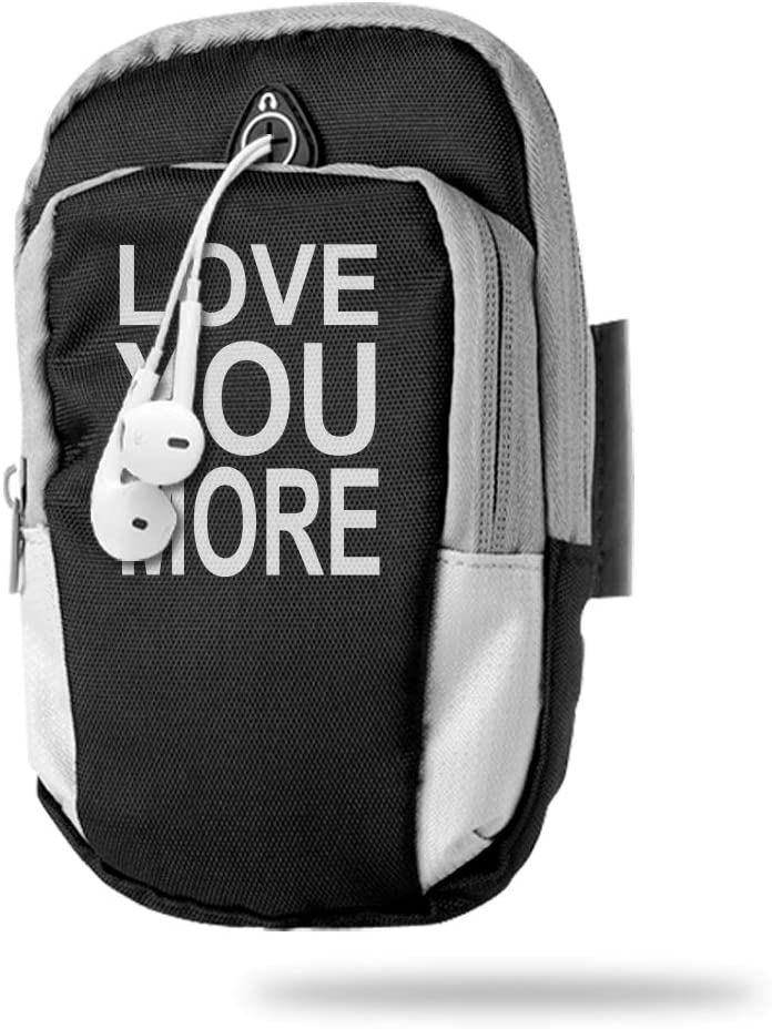 Sports Arm Bag Free Gym Phone Armbands Cell Phone Arm Holder Love You More Pouch Case with Earphone Hole for Running for Men Mini Shoulder Bag Travel Women Kids Handbag