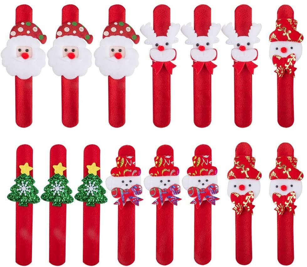 Sonku 15 Pcs Christmas Slap Bracelets, Santa Claus Snowman Reindeer Bear Christmas Tree Wristband Christmas Party Favors Gift and Wrist Decoration,5 Style