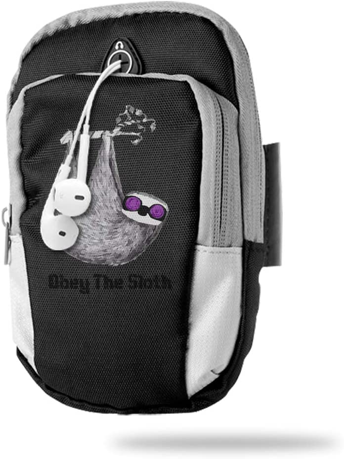 Sports Arm Bag Free Gym Phone Armbands Cell Phone Arm Holder Obey The Sloth Pouch Case with Earphone Hole for Running for Men Mini Shoulder Bag Travel Women Kids Handbag