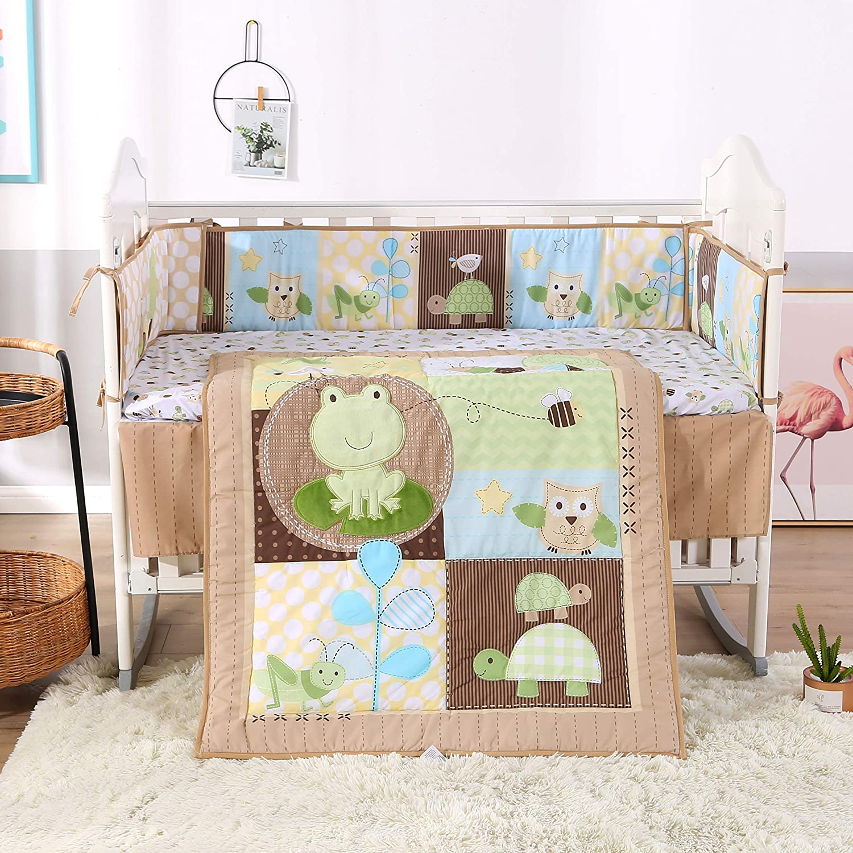 Wowelife Animal Baby Crib Set Brown 7 Piece Green Tortoise Bee Ant Frog Theme Nursery Crib Bedding(Green Frog)