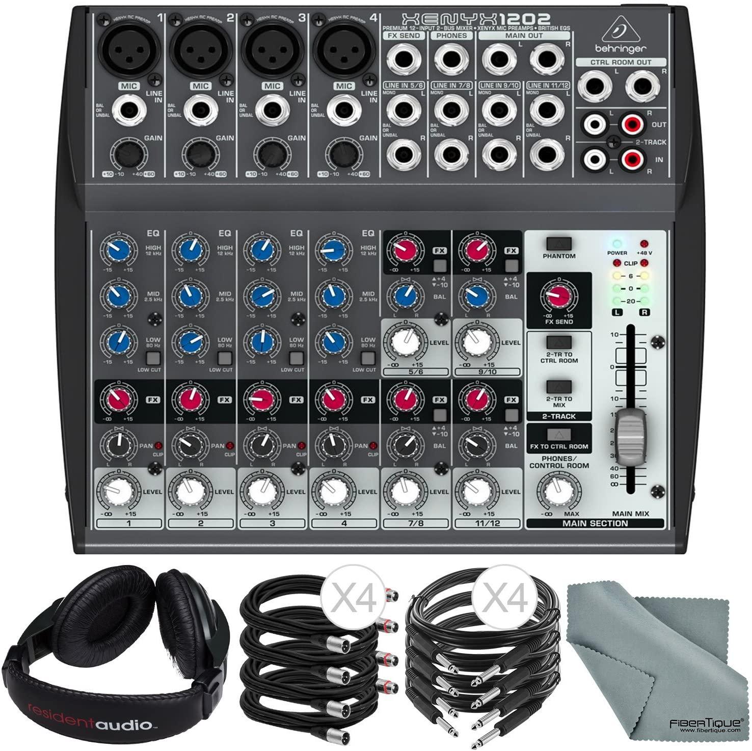 Behringer XENYX 1202 12 Channel Audio Mixer and Bundle w/Closed-Back Headphones + Cables + Fibertique Cloth