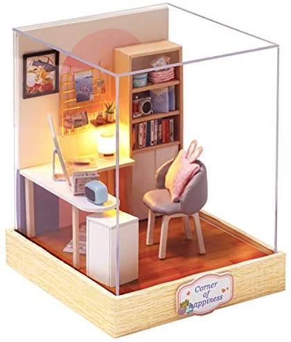 Doll House Furniture DIY Miniature 3D Wooden Miniaturas Dollhouse Toys for Children Birthday Gifts Casa Kitten Diary H013 (QT30)