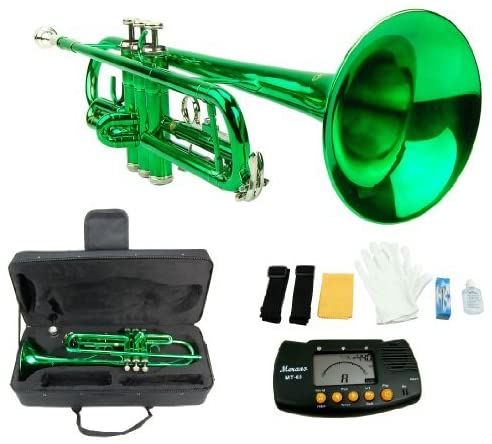 Merano B Flat GREEN/Silver Trumpet with Case+Mouth Piece+Valve Oil+Metro Tuner