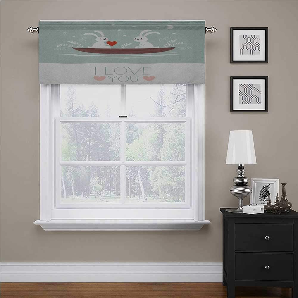 Window Curtain Valance Rabbit Couple Sailing on Boat in the Lake Valentines Partner Cartoon Energy Saving Window Curtain Valance for Kids Girl Baby Nursery Bedroom Baby Blue Umber White 56 x 16 Inch