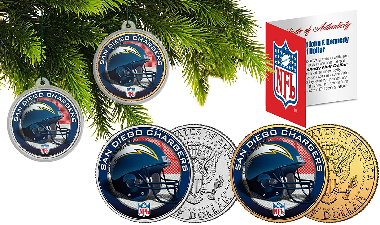 Licensed SAN Diego Chargers NFL Christmas Tree Ornament Colorized 24KT Gold JFK Half Dollar 2 Coin Set! W/H COA!