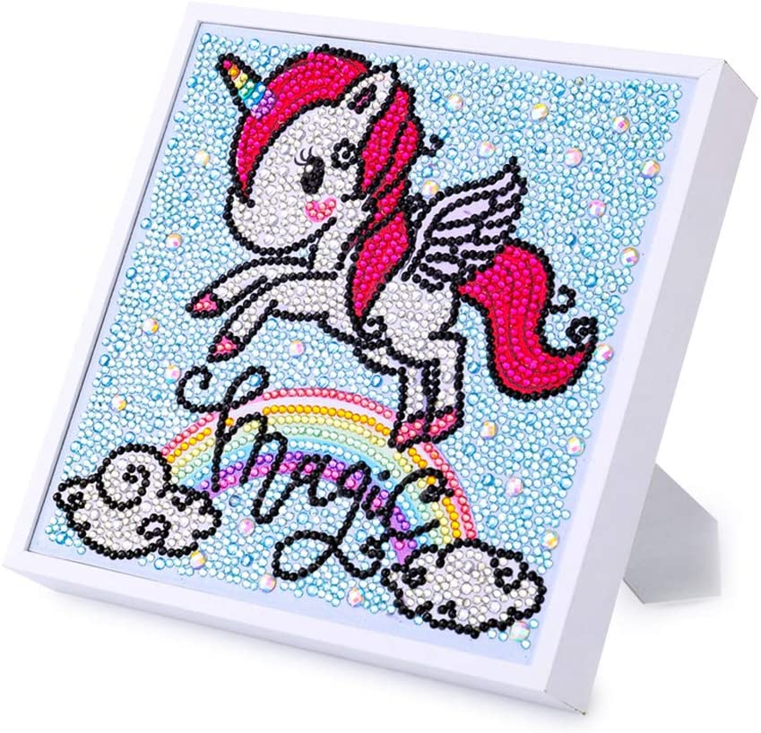 Here Fashion Diamond Painting Sticker Kit for Kids Diamond Art Mosaic Stickers by Number Kits DIY Painting Arts Crafts Supply Set Diamond Embroidery for Home Wall Decoration Gifts(Rainbow Unicorn)