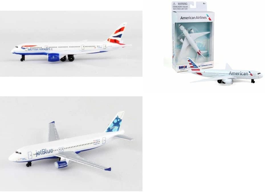 Daron British Airways, American, Jetblue Airlines Diecast Airplane Package - Three 5.5