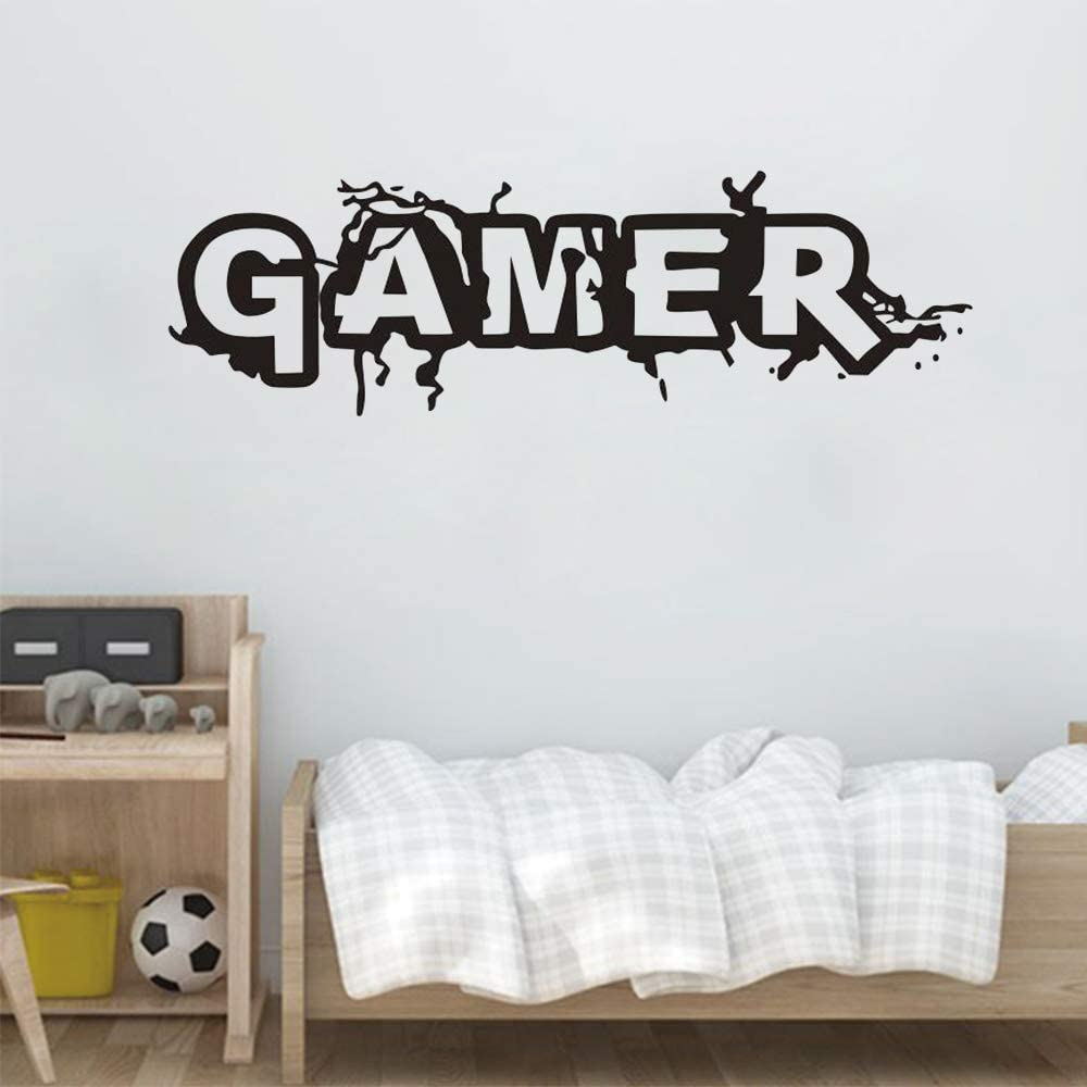 Gaming Gamer Wall Decal for Gamer Fans Men 's Living Room, Gamer Boys Children Kids Play Room Bedroom Game Room Wall Decor Home Decoration (Small W 22.7