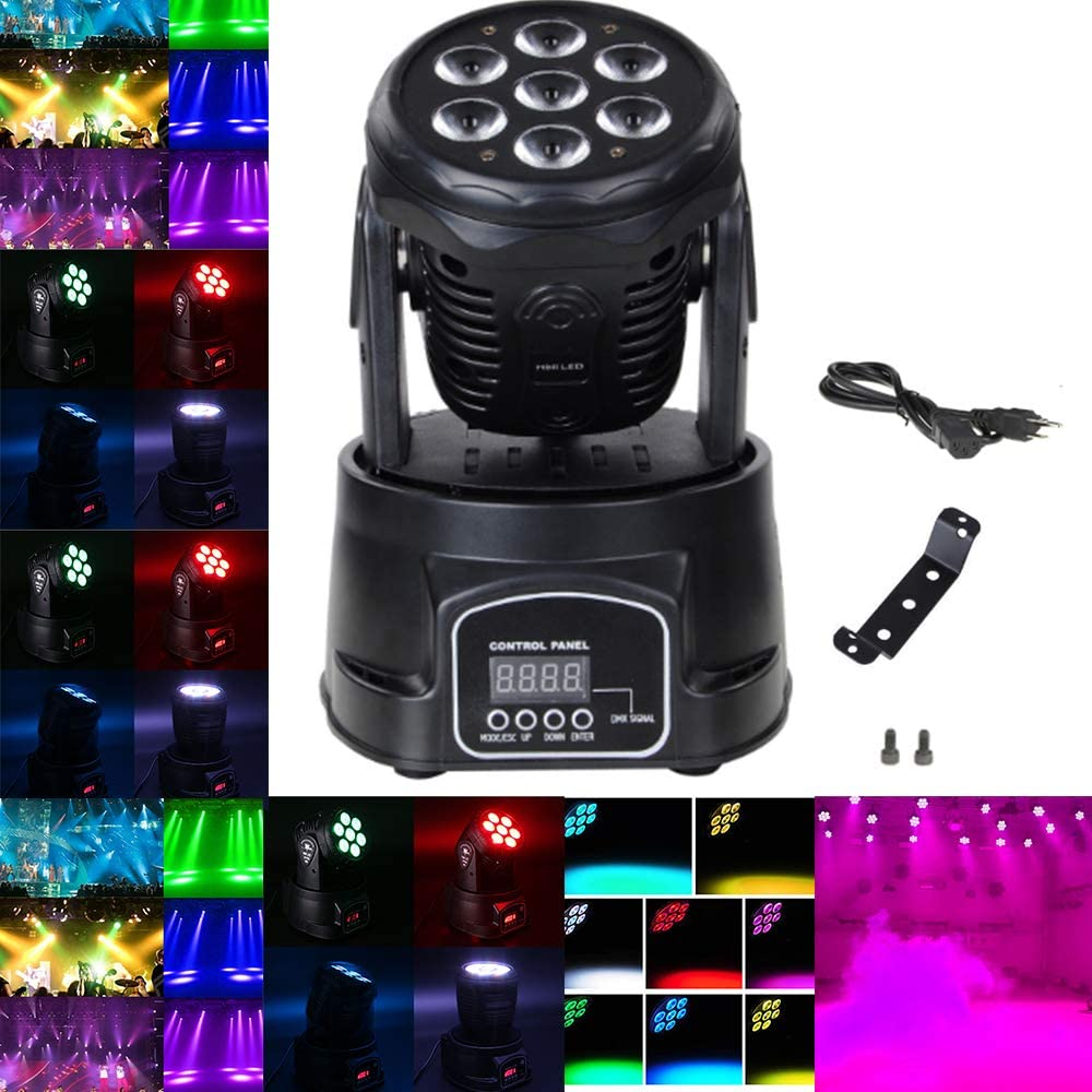 70W LED Moving Head Light, 9/14CH DMX512 Stage lighting 4 Color RGBW LED with 4 Control Mode for DJ, KTV, Disco, Party, Ballroom.