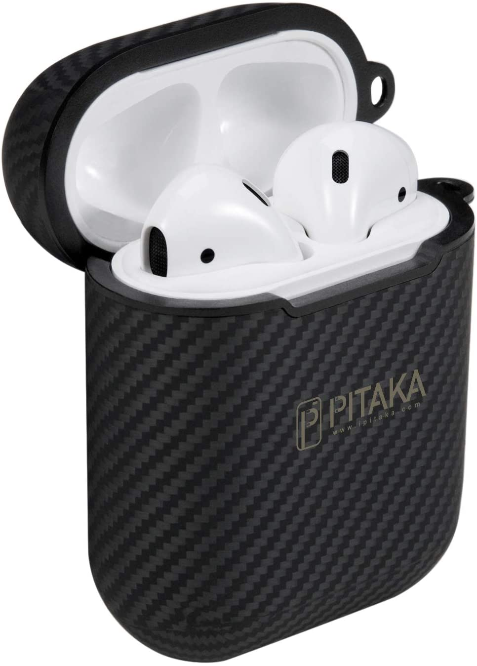 PITAKA Protective AirPods Case [AirPal Mini] Dual-Side Wireless Charging Case Slim-Fit Shockproof Aramid Fiber Cover and Skin Compatible with Apple AirPods Gen 2 and 1 Earbuds Accessories Black