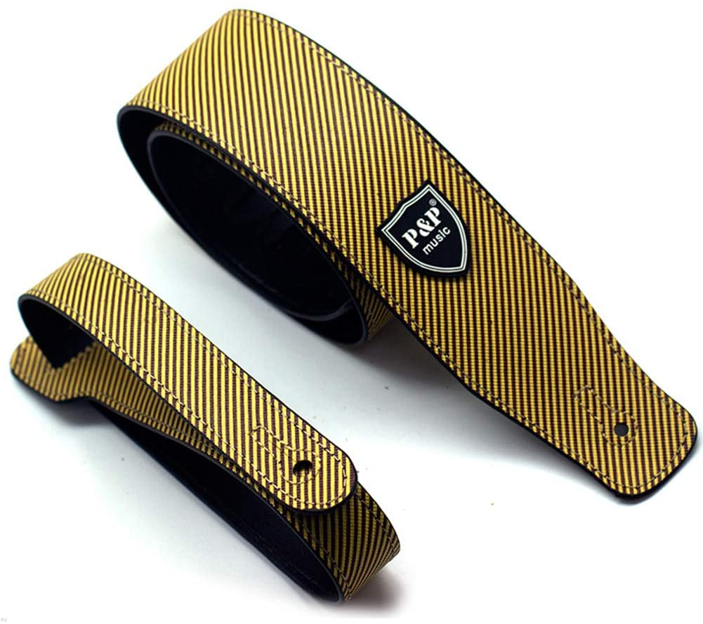 XuBa PU Leather Guitar Strap Beth Straps 130-150CM Adjustable yellow S592-A
