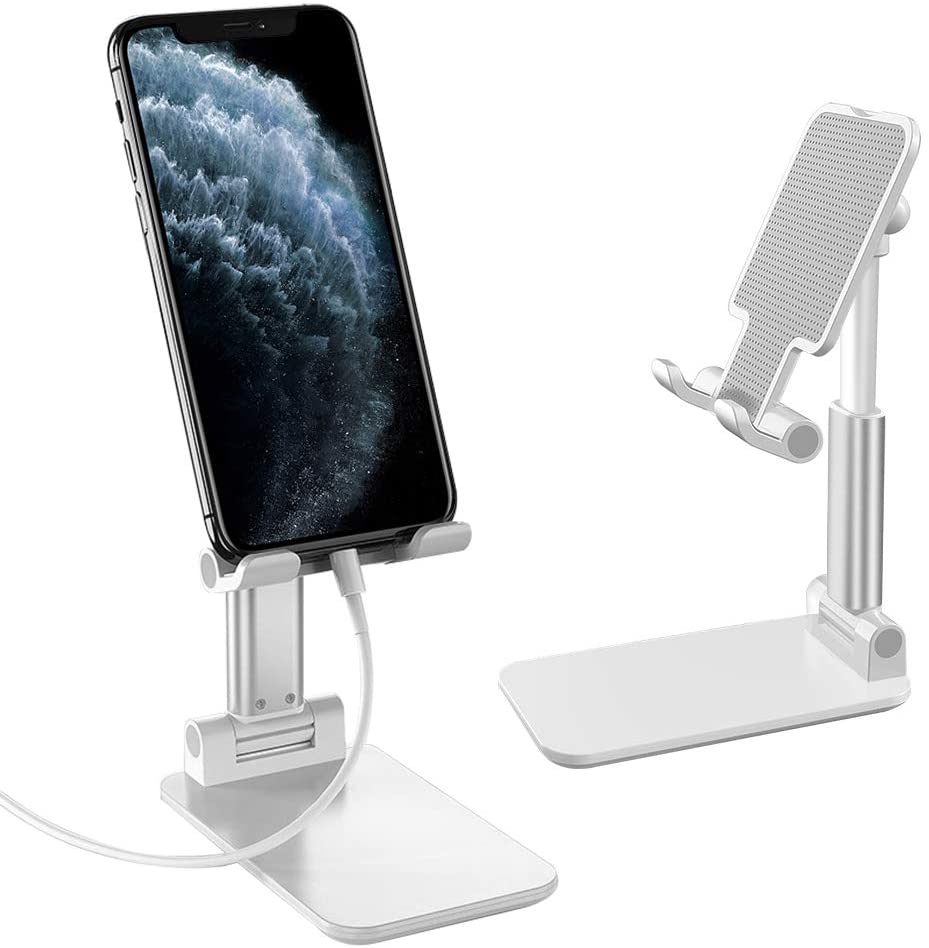 """MoKo Cellphone Stand, Multi-Angle Phone Dock Foldable Phone Holder for Desk with Charging Port for Phones Tablet(Up to 8""""), Fit iPhone 11 Pro Max/11 Pro/11, iPad Mini 5/4/3/2, GalaxyS20 6.2"""