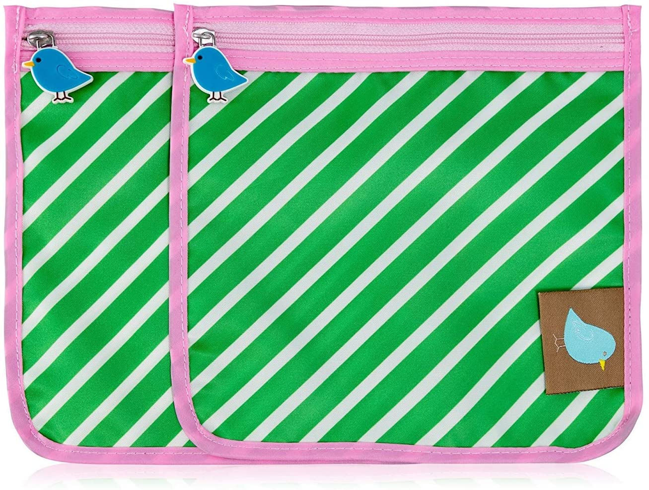 Jaq Jaq Bird Reusable Snack Pouch (2 Pack) (Kelly Stripe)