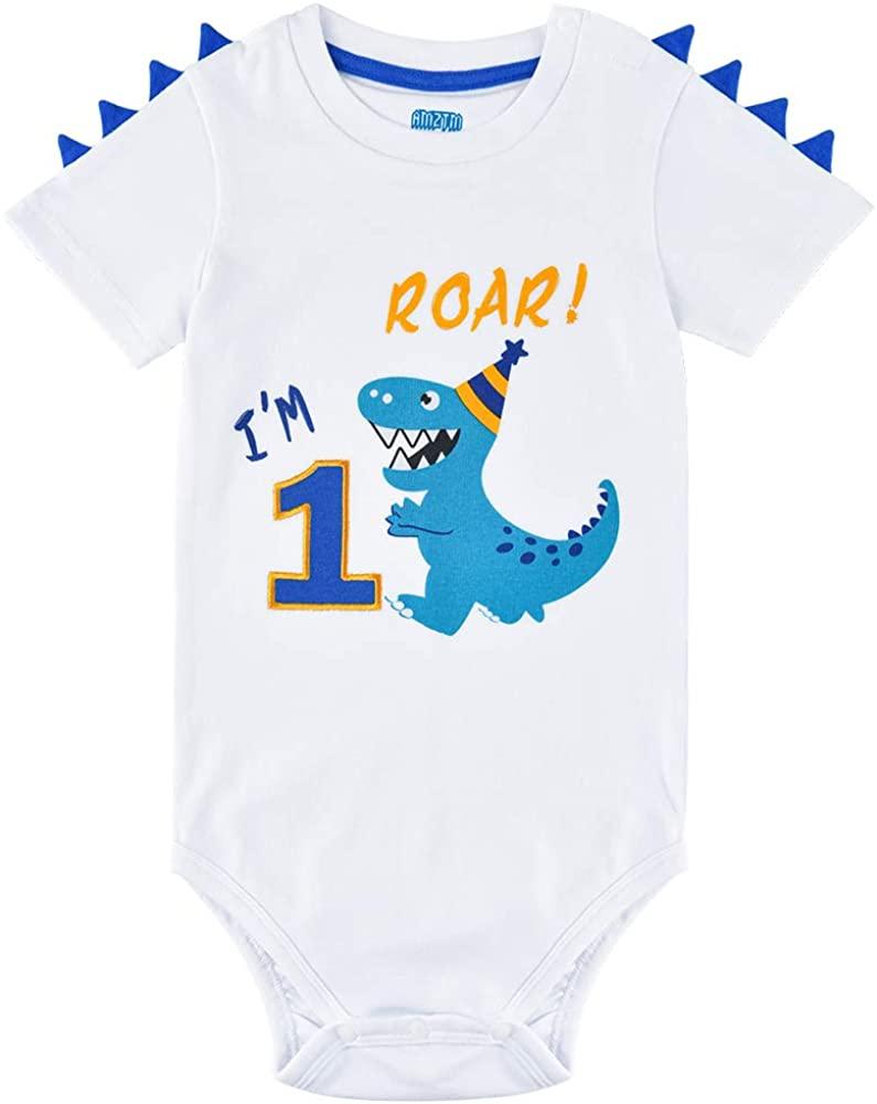 AMZTM First Birthday Baby Boys Bodysuit 1st Birthday Dino Short-Sleeve Romper