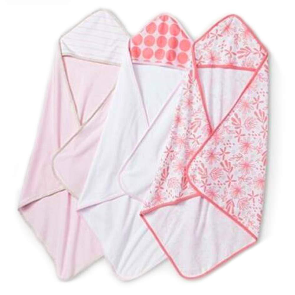 Cloud Island Infant Hooded Towels Lightweight Baby Bath Peach White 30