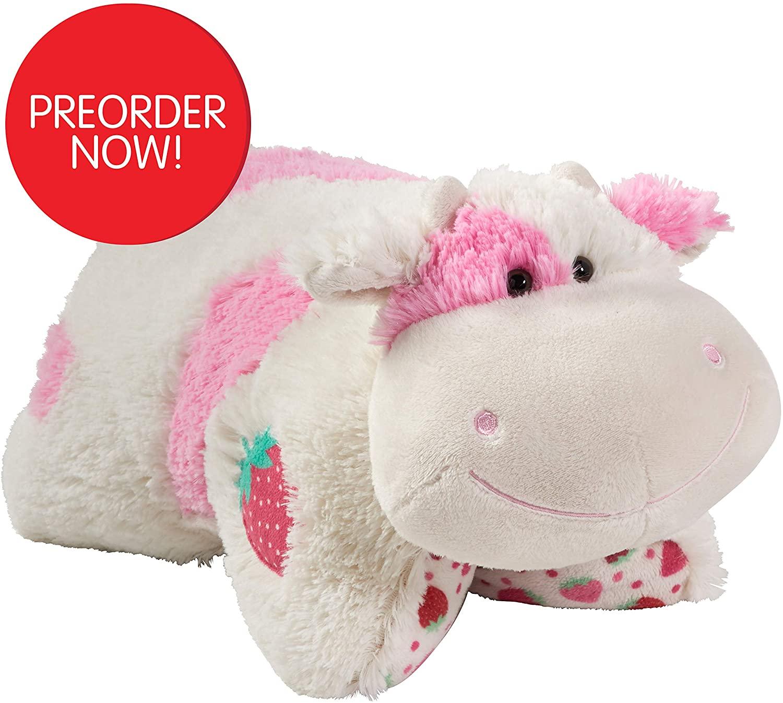 Pillow Pets Sweet Scented Strawberry Milkshake Cow Plush Toy
