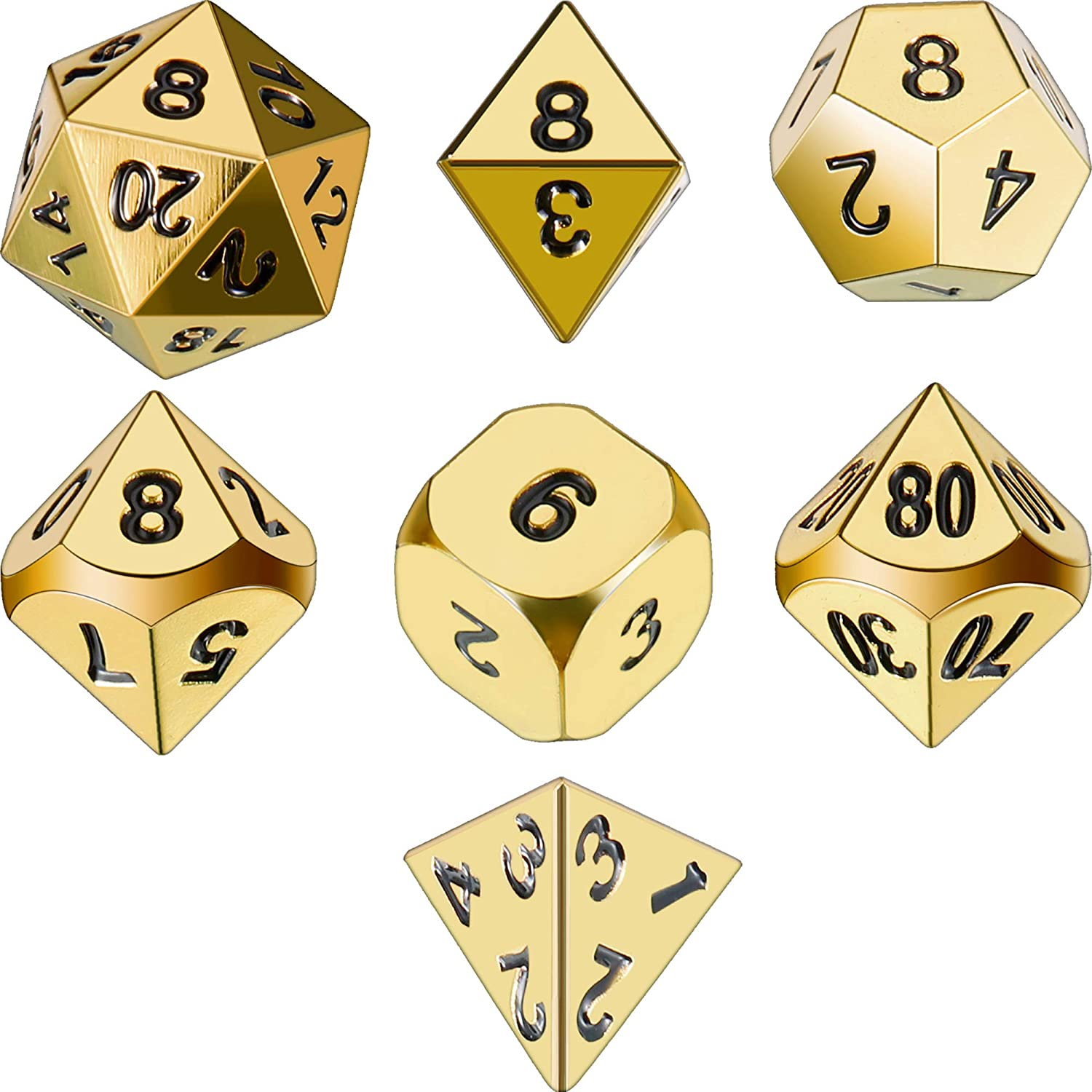 TecUnite 7 Die Metal Polyhedral Dice Set DND Role Playing Game Dice Set with Storage Bag for RPG Dungeons and Dragons D&D Math Teaching (Bright Gold)