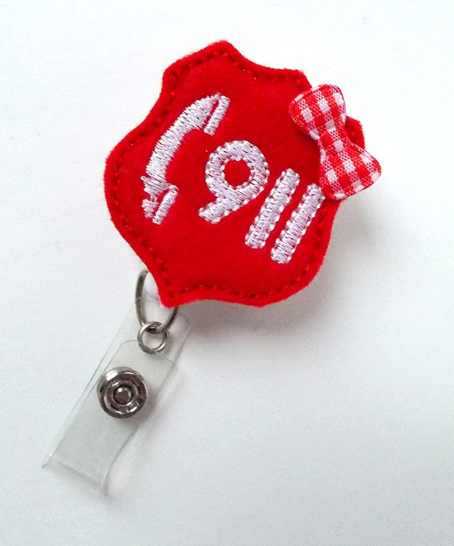 Call 911 - Retractable Badge Reel - Name Badge Holder - Police Dispatcher Badge Holder - EMT Badge - Felt Badge - Emergency Management Badge