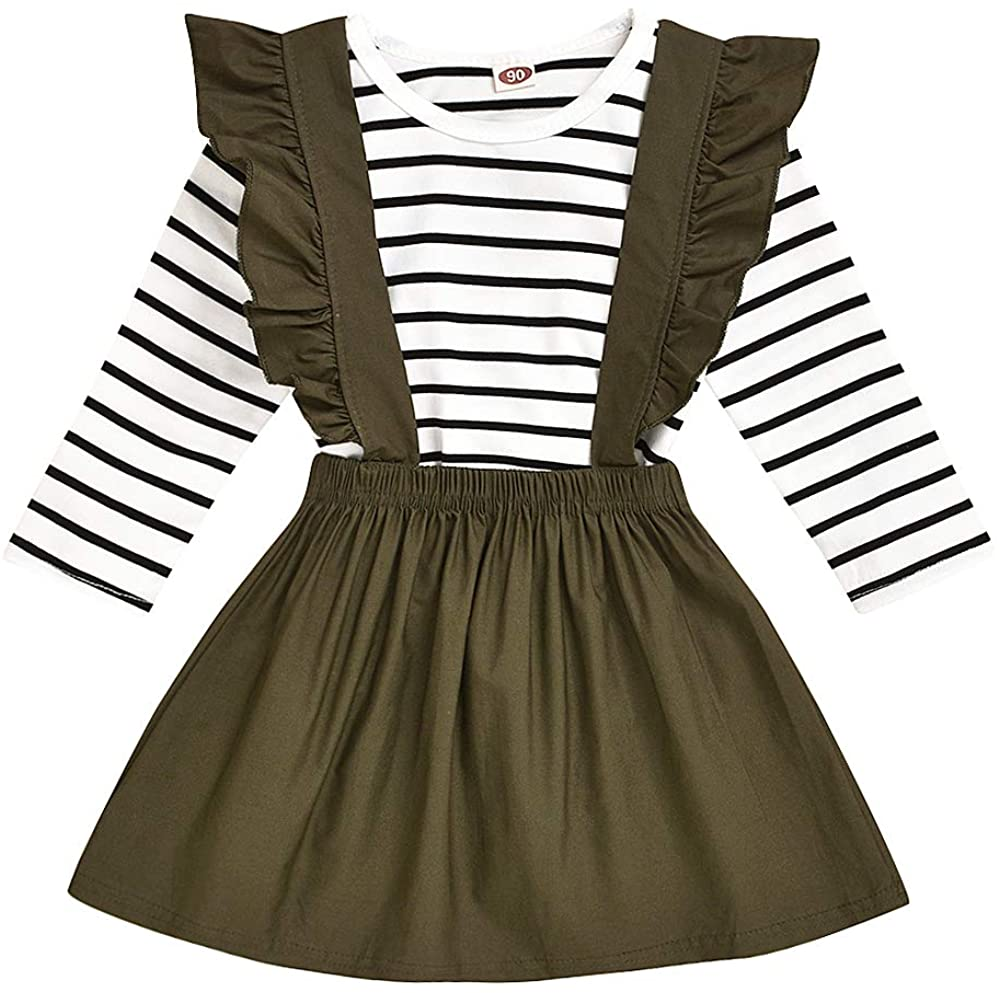 Besokuse 2Pcs Toddler Baby Girls Linen Long Sleeve Top Striped T-Shirt+Suspender Ruffled Skirt Party Overall Outfit