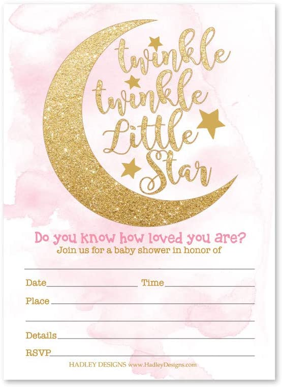 25 Twinkle Twinkle Girl Baby Shower Invitations, Sprinkle Invite for Girl, Coed Little Stars Gender Reveal Theme, Cute Moon Clouds DIY Fill or Write in Blank Printable Card, Pink Gold Party Supplies