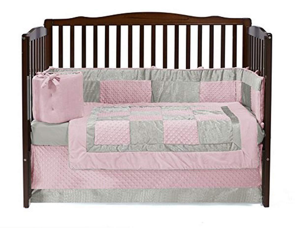 Baby Doll Bedding Croco Minky Crib Set, Pink/Ivory