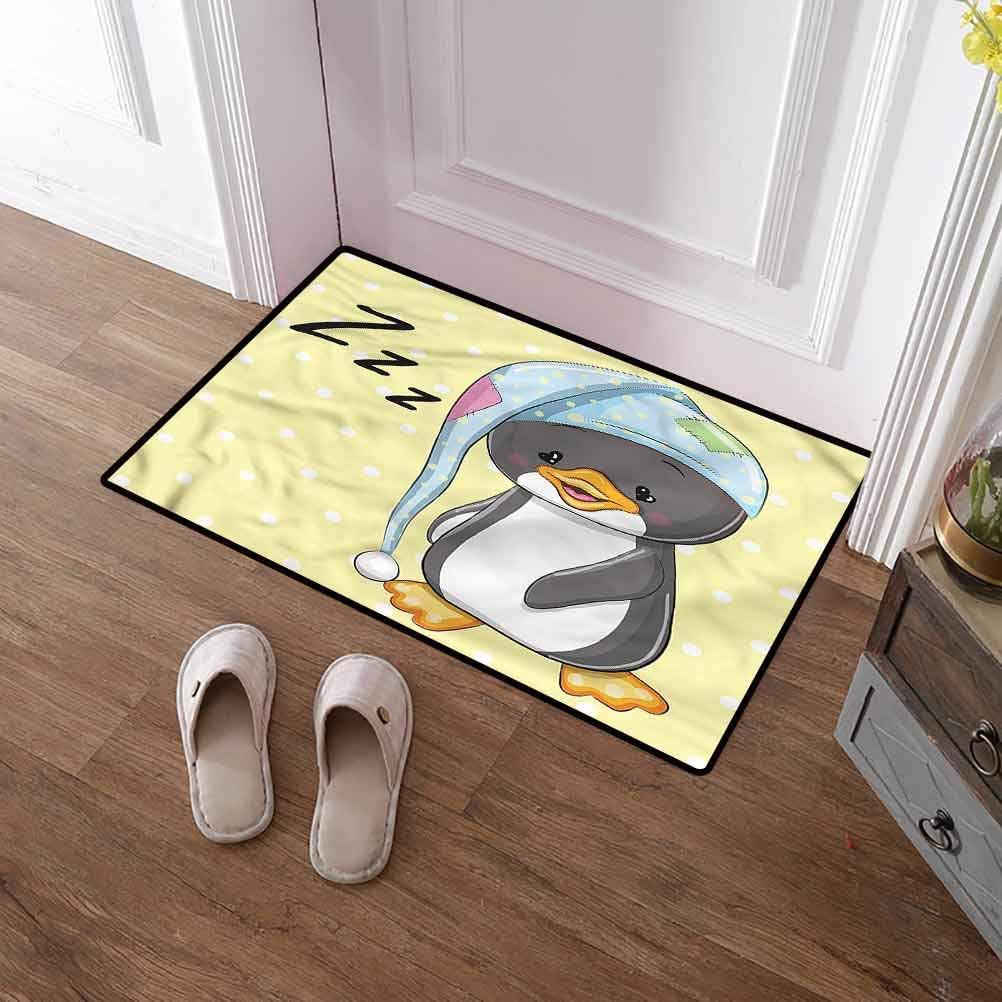 SCOCICI1588 Floor Mat Cartoon, Sleepy Baby Penguin in Hood Non-Slip Soft Microfiber Doormat for Mud Room, Back Door, High Traffic Areas 16 x 24 Inch