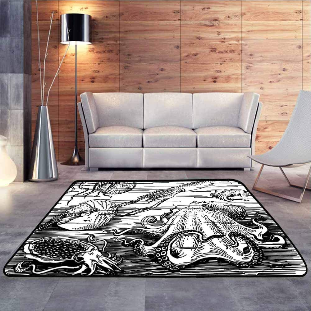 Anti-Skid Area Rug Marine Wildlife Print Animals with Tentacles Octopus Squid Shrimp Ocean Nature Baby Crawling Mat for Baby Nursery Decor, 4 x 4 Feet