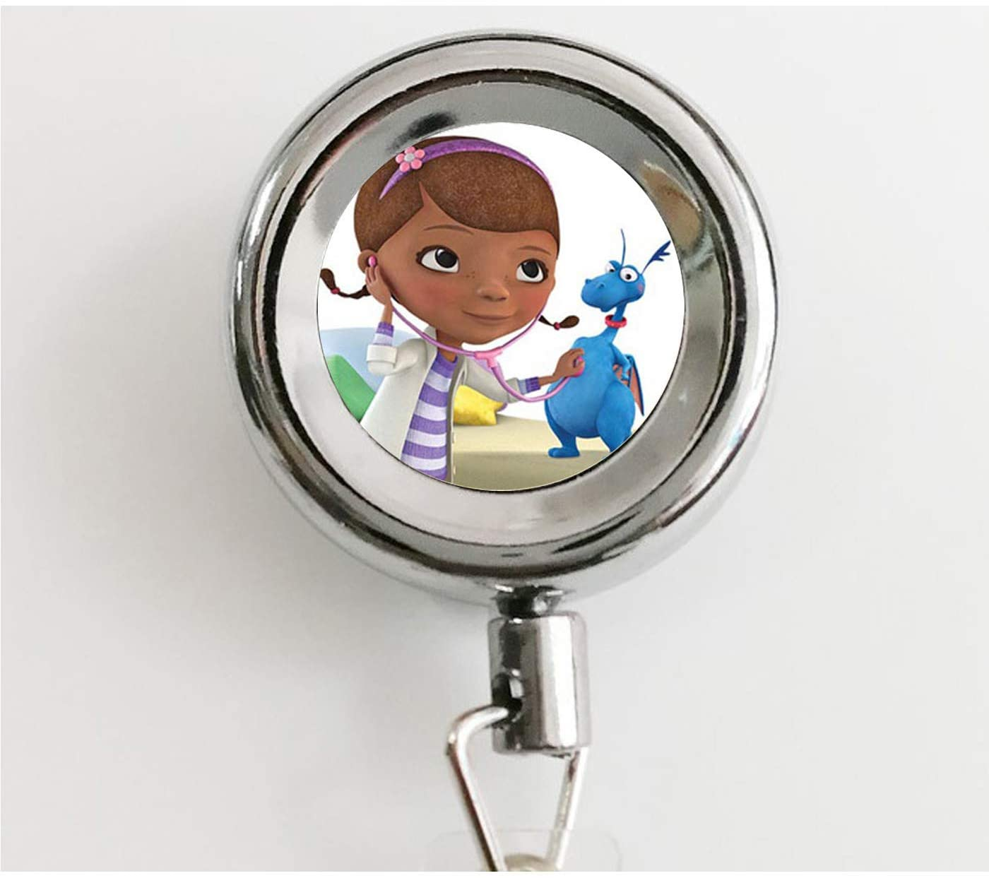 Cartoon Doc Mcstuffins Long Necklace Cosplay Clinic Doctor Round Pendant Necklace for Baby Girl Jewelry Birthday Party Gift Retractable Badge Holder Reel with Waterproof ID Holders & Keychain