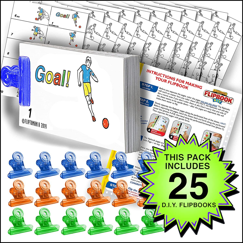 Fliptomania Soccer Flipbook Animation Activity Pack - 25 Sets DIY Flip Books