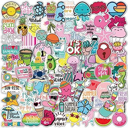 100 Cute stickers I Stickers for kids Waterproof 100% Vinyl Stickers, water bottle stickers, Aesthetic Stickers, Vsco Stickers for books, Laptop Stickers, Funny cute stickers (100 Pack Beach Stickers)