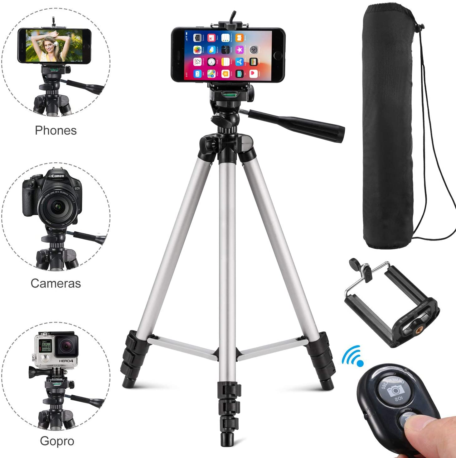 Kwithan Tripod, 50-inch Video Tripod for Cellphone and Camera, Universal Tripod with Wireless Remote & Cellphone Holder Mount