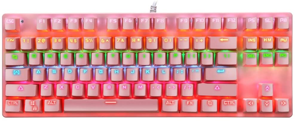 GEZICHTA Mechanical Gaming Keyboard LED Colorful Rainbow Backlit Wired Keyboard, 87 Keys PC Gaming Keyboards, for PC Typing USB Wired, Blue