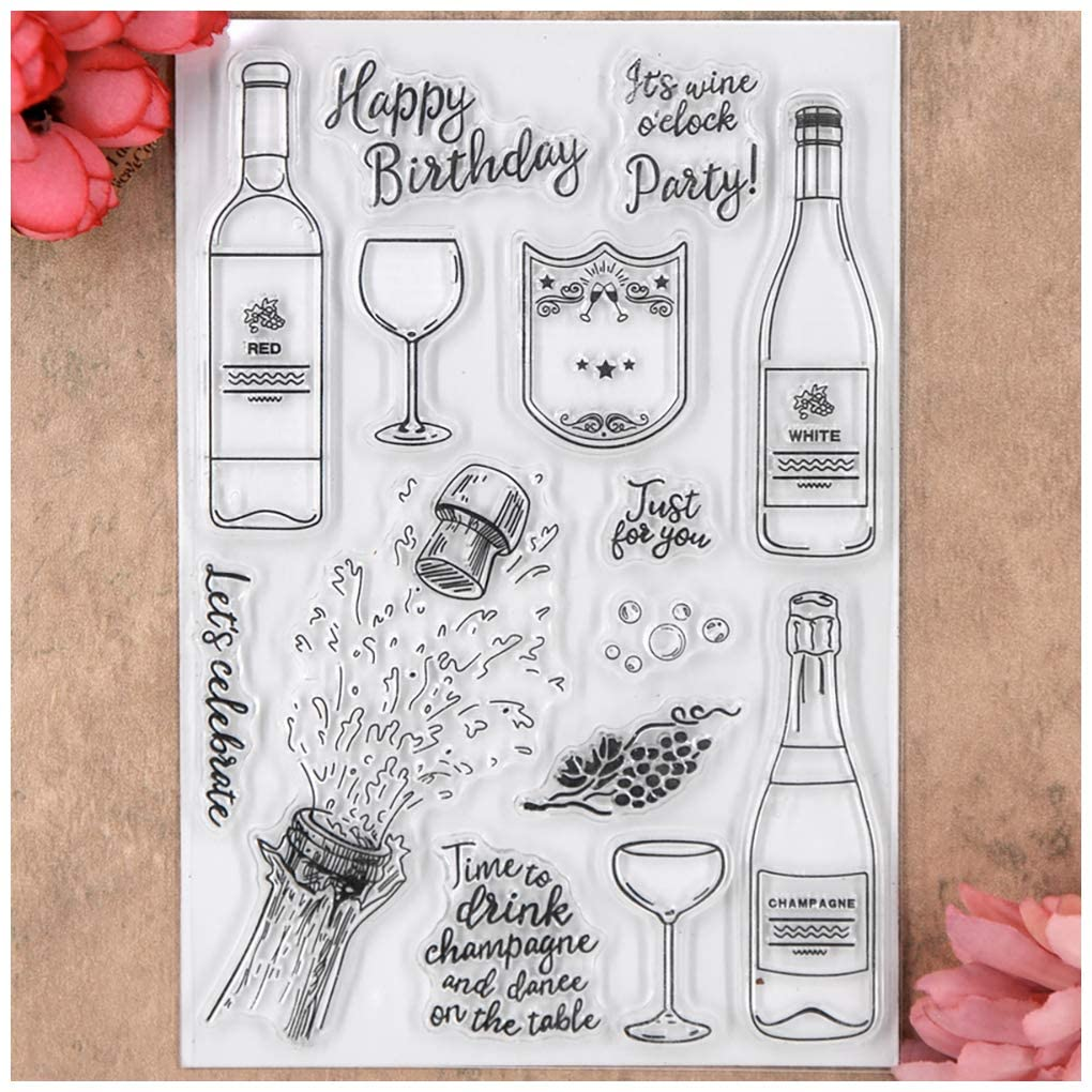 Kwan Crafts Happy Birthday Party Just for You Clear Stamps for Card Making Decoration and DIY Scrapbooking