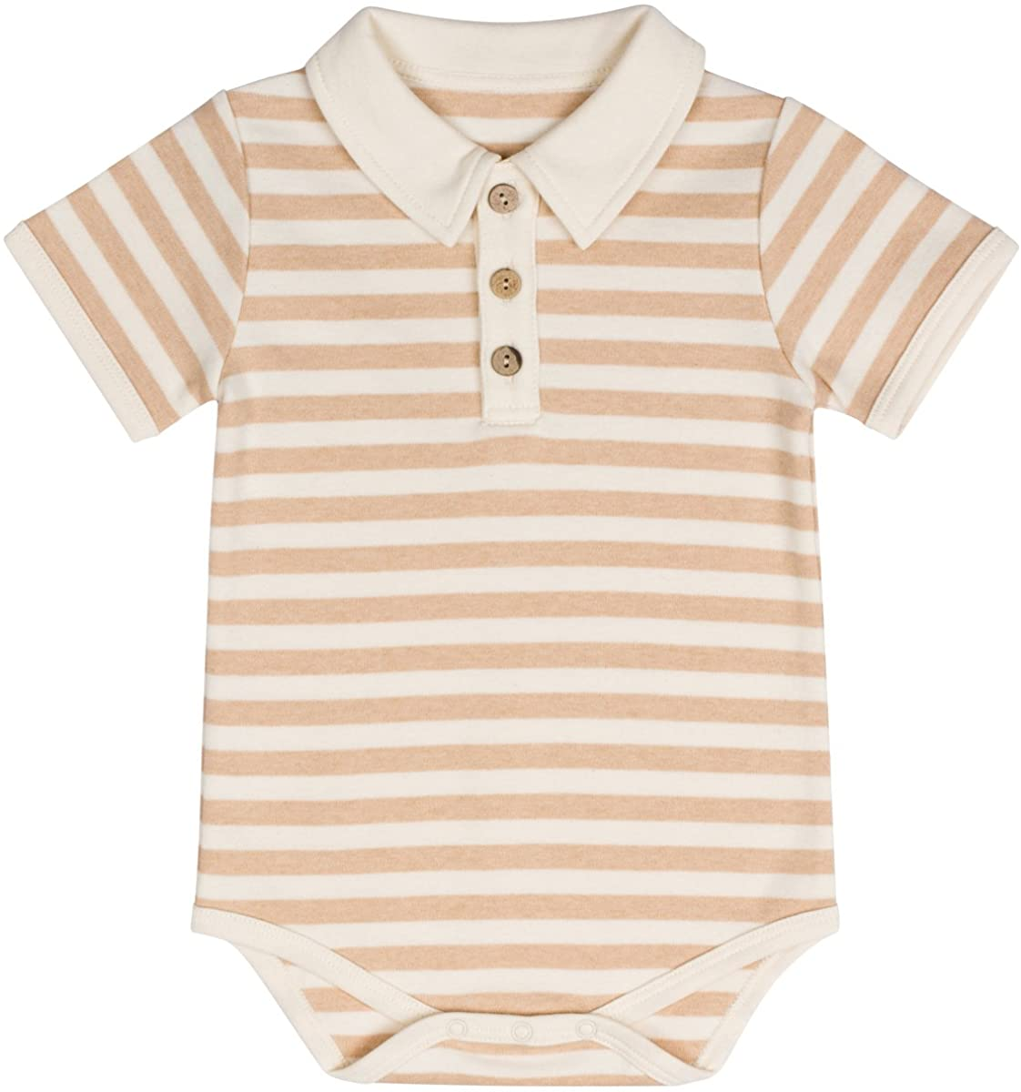 Niteo Baby Organic Cotton Polo Onesie Bodysuit Short Sleeve: Natural, Dye-Free
